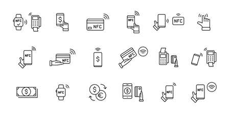 Set of NFC payment linear icons. Pay pass. Wireless pay. Nfc card payment. NFC technology. Customer is paying. Vector illustration Ilustrace