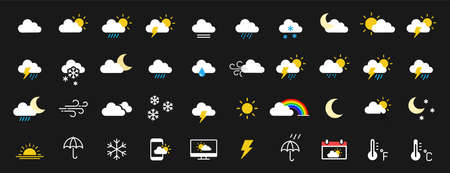 Set of 40 weather web icons in line style. Weather, clouds, sunny day, moon, snowflakes, wind, sun day. Vector illustration