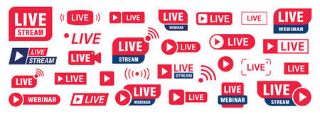Set of Live stream or webinar icons. Colored button. Live event. Stream, webinar, chat. Vector illustration