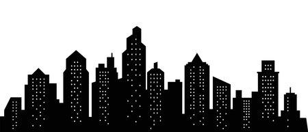 City skyline silhouette. City landscape template. Urban landscape. Vector illustration