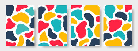Set of abstract art background. Modern trendy blotch shape. Liquid shape elements. Fluid dynamical colored forms banner. Vector illustration