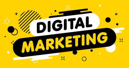 Modern banner Digital marketing. Banner for business, marketing and advertising. Vector illustration