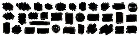 Set of brush strokes with gold frames. Modern brush, frames, banner. Grunge brush stroke element. Vector black paint illustration for your text