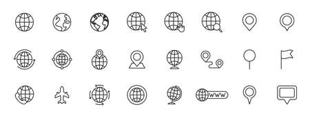 Set of 24 Globe and earth planet web icons in line style. Navigational Equipment, Planet Earth, Airplane, Map. Vector illustration