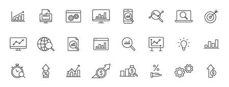 Set of 24 Data Analysis web icons in line style. Graphs, Analysis, Big Data, growth, chart, research. Vector illustration 向量圖像