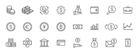 Set of 24 Money and Payment web icons in line style. Business, investment, financial, banking, dollar, bank, cash, coin exchange, pay Vector illustration