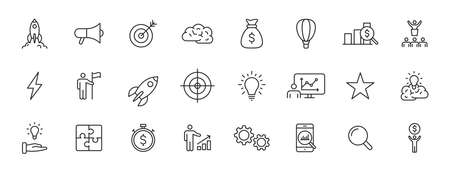 Set of 24 Start up web icons in line style. Creative, idea, target, innovation, business, marketing. Vector illustration