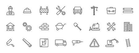 Set of 24 Construction web icons in line style. Building, engineer, business, road, builder, industry. Vector illustration