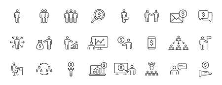 Set of 24 Business people and teamwork web icons in line style. Business, teamwork, leadership, manager. Vector illustration 向量圖像