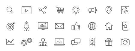 Set of 24 Social Networks web icons in line style. Marketing, feedback, management, target, like, content. Vector illustration 向量圖像