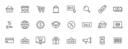 Set of 24 E-commerce and shopping web icons in line style. Mobile Shop, Digital marketing, Bank Card, Gifts. Vector illustration 向量圖像