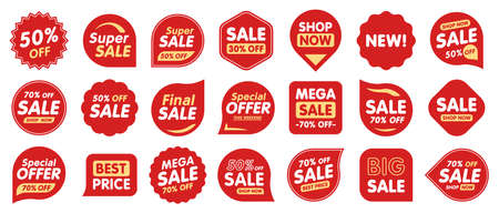 Set of Sale badges. Sale quality tags and labels. Template banner shopping badges. Special offer, sale, discount, shop, black friday. Vector illustration