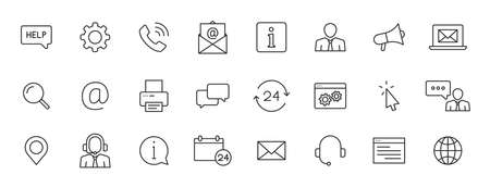 Set of 24 Support and Help web icons in line style. Assistance, email, customer, 24 hrs, service, contact. Vector illustration