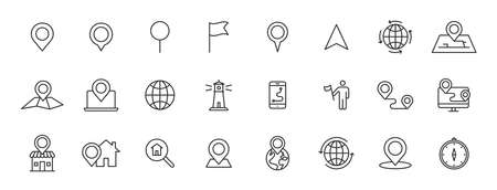 Set of 24 Navigation and location web icons in line style. GPS, compass, global, marker, map, pointer. Vector illustration 向量圖像