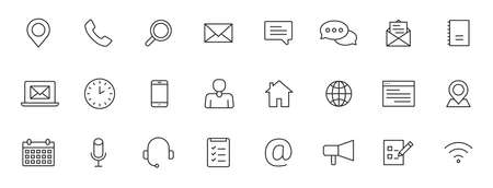 Set of 24 Contact Us icons in line style. Web and mobile icon. Chat, support, message, phone. Vector illustration 向量圖像