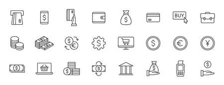 Set of 24 Money and Payment web icons in line style. Business, investment, financial, banking, exchange, pay. Vector illustration 向量圖像