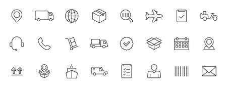 Set of 24 Delivery and logistics icons in line style. Courier, shipping, express delivery, tracking order, support, business. Vector illustration 向量圖像