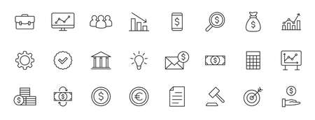 Set of 24 Business and Finance web icons in line style. Money, dollar, infographic, banking. Vector illustration