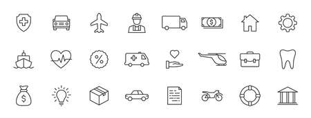 Set of 24 Insurance web icons in line style. Business, health, policy, tornado, flood, help. Vector illustration