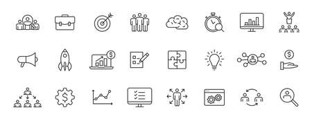 Set of 24 Management web icons in line style. Media, teamwork, business, planning, strategy, marketing. Vector illustration