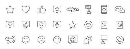 Set of 24 Feedback and Review icons in line style. Star Rating, Emotion symbols. Vector illustration 向量圖像