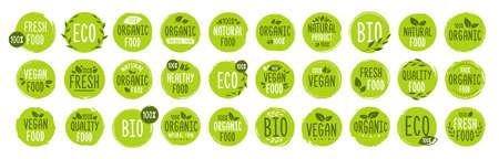 Set of Vegan, Eco, Bio, Organic, Fresh, Healthy, 100 percent, natural food. Natural product. Collection of 30 emblem, cafe, logos, badges tags label tag packaging Vector illustration Illustration