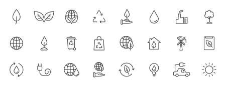Set of 24 Ecology web icons in line style. Electric Car, Organic, environmental energy. Vector illustration