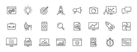 Set of 24 Web development web icons in line style. Marketing, analytics, e-commerce, digital, management, seo. Vector illustration Illustration