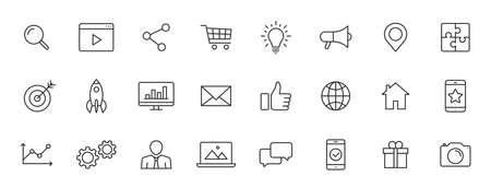 Set of 24 Social Networks web icons in line style. Marketing, feedback, management, target, like, content. Vector illustration Illustration