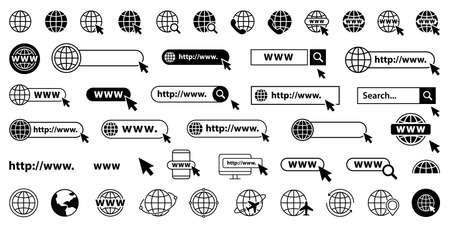 Set of www, globe and search bar elements. Globe with cursor icons, browser bar, WWW, mouse cursir, search. Vector illustration
