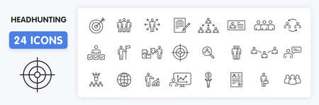 Set of 24 Headhunting web icons in line style. Skills, work, professional, employment, management, teamwork. Vector illustration Illustration