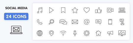 Set of 24 Social Media icons in line style. Contact, digital, social networks, technology, website. Vector illustration