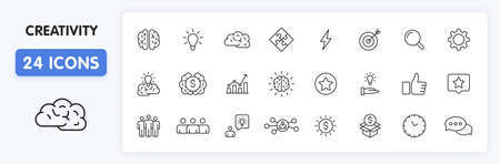 Set of 24 Creativity and Idea web icons in line style. Creativity, Finding solution, Brainstorming, Creative thinking, Brain. Vector illustration Illustration