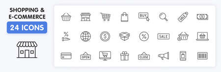 Set of 24 E-commerce and shopping web icons in line style. Mobile Shop, Digital marketing, Bank Card, Gifts. Vector illustration Illustration