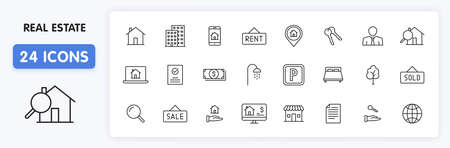 Set of 24 Real Estate web icons in line style. Rent, building, agent, house, auction, realtor. Vector illustration