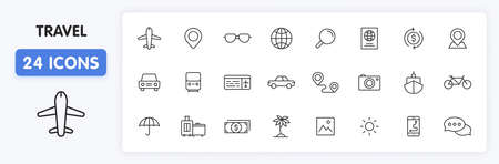 Set of 24 Travel and Holiday web icons in line style. Transport, Luggage, food, navigation, holiday. Vector illustration Illustration