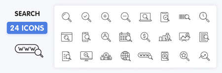Set of 24 Search web icons in line style. SEO analytics, Digital marketing data analysis, Employee Management. Vector illustration