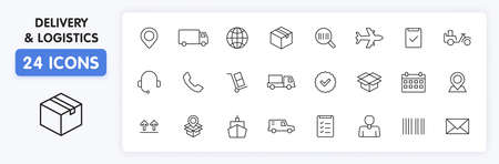 Set of 24 Delivery and logistics icons in line style. Courier, shipping, express delivery, tracking order, support, business. Vector illustration Illustration
