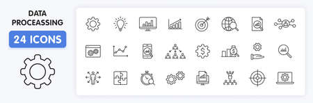 Set of 24 Data Proceassing web icons in line style. Graphic, analytics, statistic, network, diagrams, digital. Vector illustration