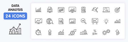 Set of 24 Data Analysis web icons in line style. Graphs, Analysis, Big Data, growth, chart, research. Vector illustration Illustration