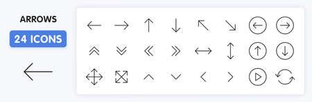 Set of 24 Arrows web icons in line style. Arrow, arrows. Vector illustration