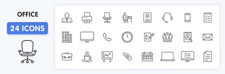 Set of 24 Office web icons in line style. Teamwork, workplace, coffee, work, business, employee. Vector illustration