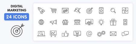 Set of 24 Digital Marketing web icons in line style. Social, networks, feedback, communication, marketing, ecommerce. Vector illustration