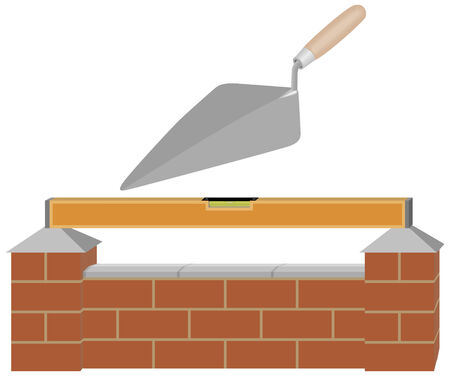 Illustration of a brick wall with spirit level and trowel