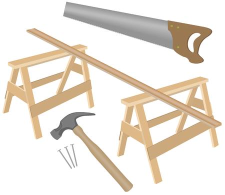 handsaw: Ilustraci�n vectorial de garra martillo, clavos, mano, caballetes y tabla de madera.