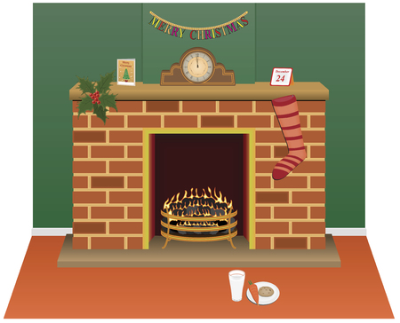 fireside: Christmas eve scene with fireplace, holly, milk and cookie, clock and stocking. Illustration