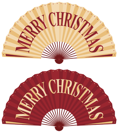 concertina: Vector illustration of oriental fan with merry christmas wording