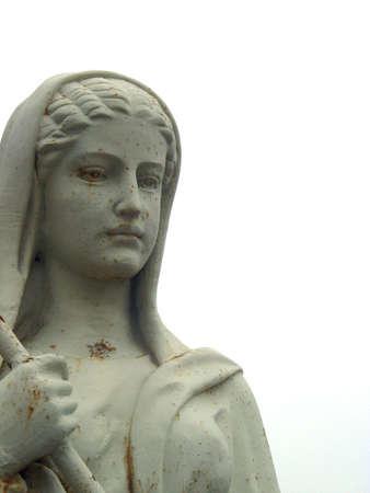 statuary: White Statuary of Cloaked Woman Stock Photo