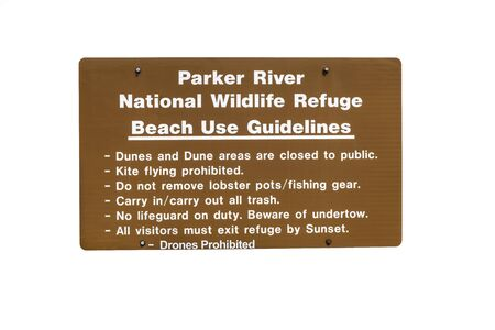 Parker River National Wildlife Refuge Beach Use Guidelines sign isolated on white