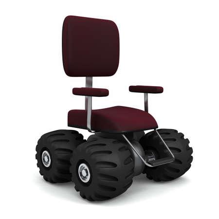 4 ホイール ドライブのオフィスの椅子。大きなモンスター トラックのタイヤ。白で隔離されます。
